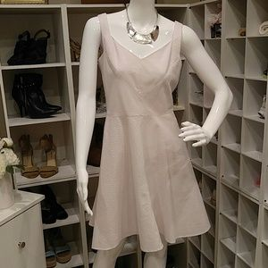 ANN TAYLOR PINK/WHITE SEERSUCKER DRESS 2P
